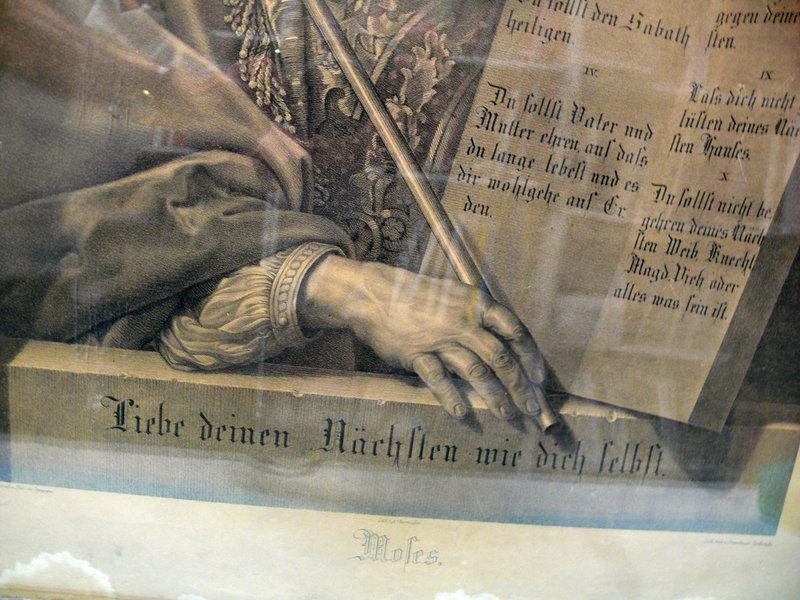 Lithograph, Moses, The Ten Commandments, Wilhelm Creuzbauer