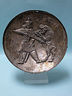 Near Eastern Large Silver Dish with Warrior Fighting Lion
