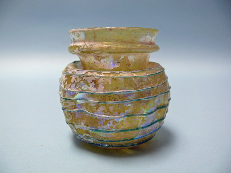Luminescent Byzantine Glass Jar with Purple Swirls