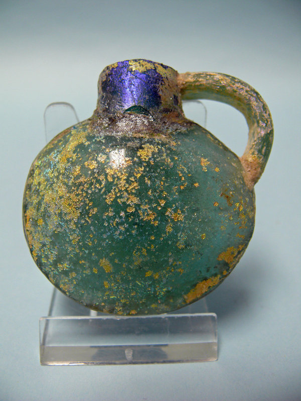 Radiant Miniature Roman Glass Pilgrim Flask