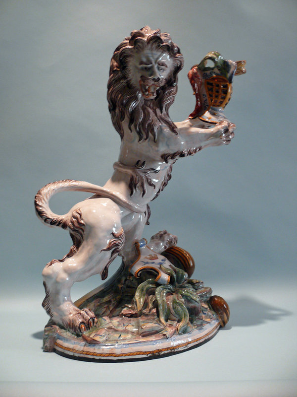 Monumental 18th Century St Clement's Faience Lion, France