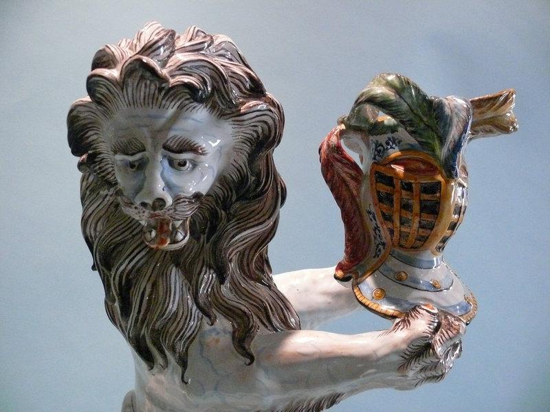 Monumental 18th Century St Clement's Faience Lion, France