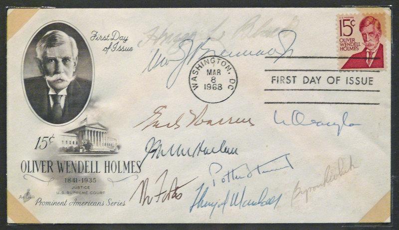 The Warren Court - 1968 Supreme Court Justices Signatures, Autographs