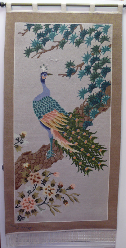 Vintage Chinese Silk Hand-knotted Tapestry with Peacock