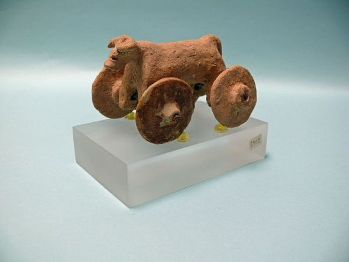 Persian, Elamite Pink Terracotta Toy Mouflon, Sheep, on Wheels