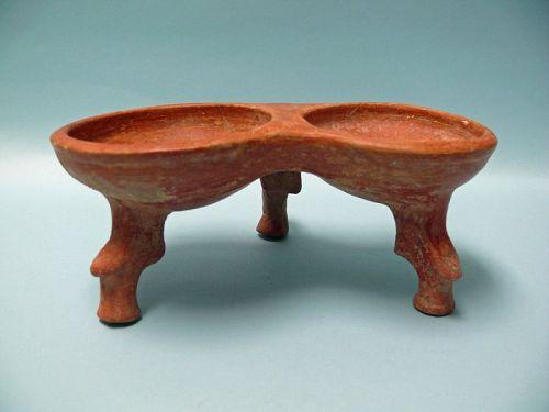 Iron Age III, Teppe Hasanlu, Terracotta Double Bowl with Tripod Feet