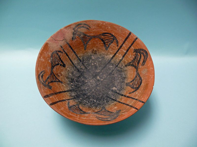 Chalcolithic Tepe Sialk Terracotta Bowl with Ibex, Horned Animal