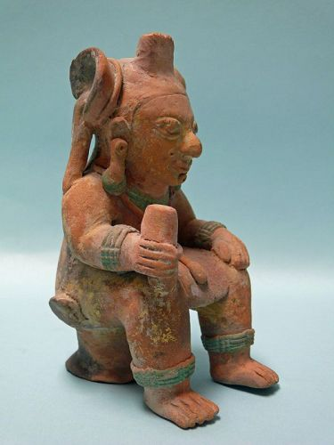 Jama Coaque Terracotta Seated Figure with Headdress