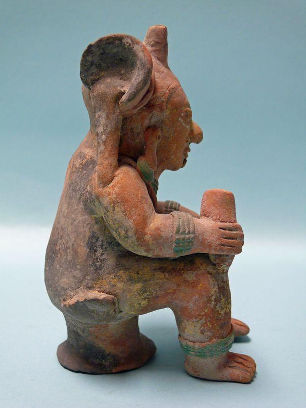 Jama Coaque Terracotta Seated Figure with Headdress