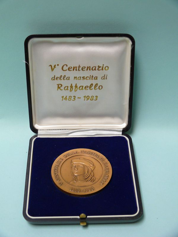 Italian Bronze Commemorative Coin of Raphael, Renaissance Painter