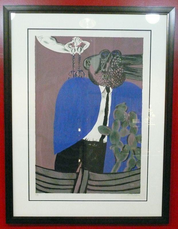Naftali Bezem, Artist Proof Signed Color Lithograph, Man