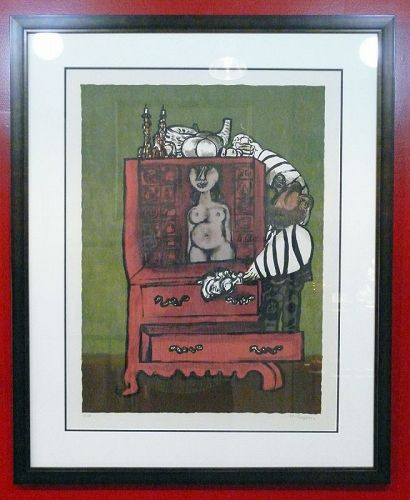 Naftali Bezem, Artist Proof Signed Color Lithograph, Nude Woman