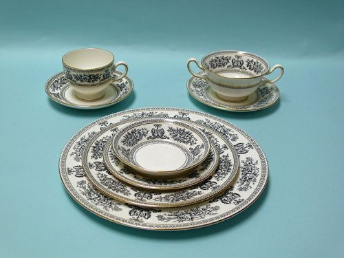 Wedgwood China, Columbia Black Pattern, Set for 14