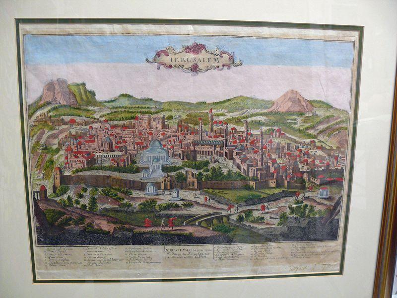 Antique Map of Jerusalem, Teddy Kollek collection