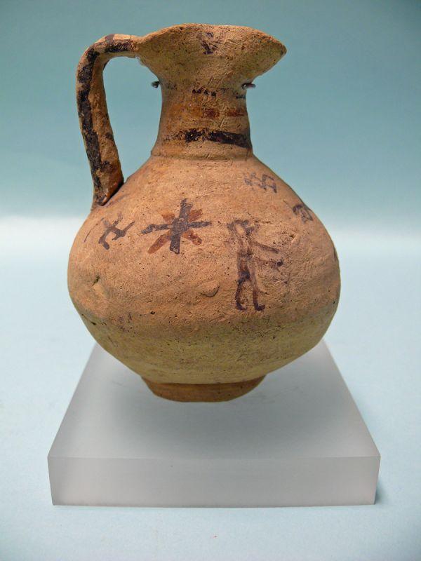Cypriot Pottery Trefoil Oinochoe, Sanskrit Swastika Symbol