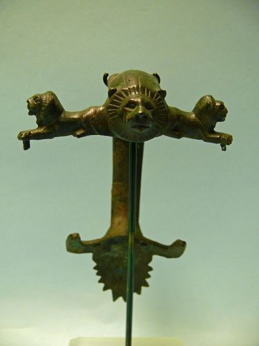 Roman Bronze Hydria Handle, Three Lion's Head