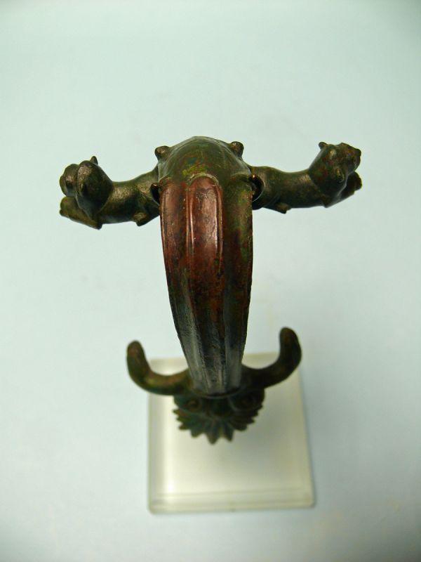 Roman Bronze Hydria Handle, Three Lion's Head