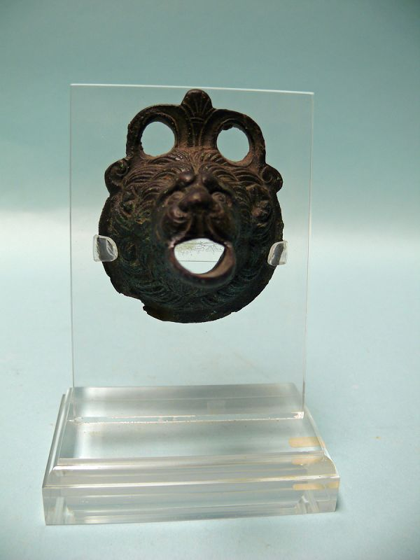 Roman Bronze Protome of a Lion Head
