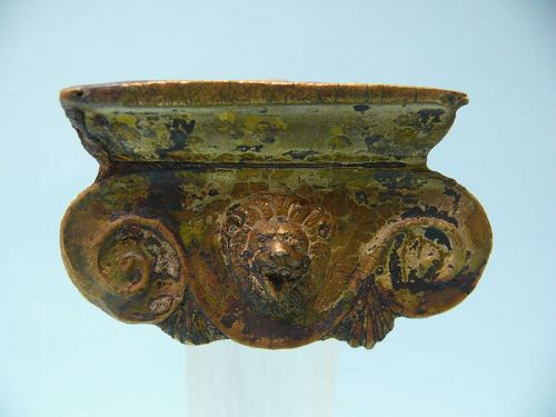 Roman Bronze Iconic Style Capital with Lion Head