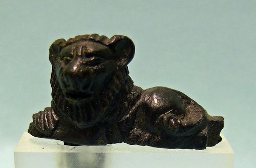 Miniature Roman Bronze Reclining Lion