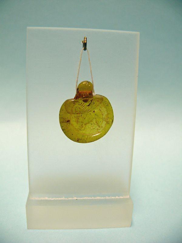 Roman Glass Token / Pendant of a Griffin