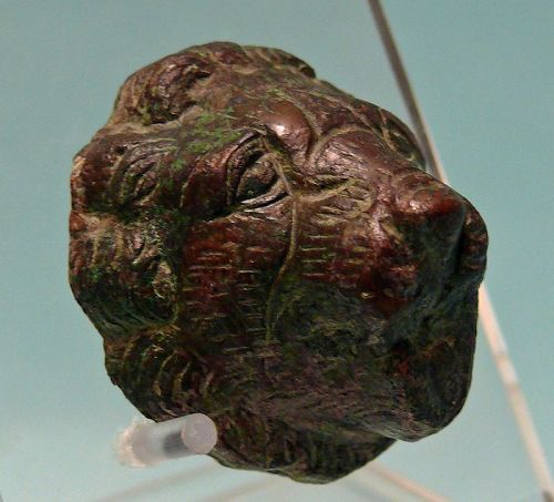 Roman Bronze Head of a Lion, Attachment