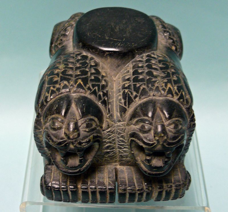Syro-Hittite Black Steatite Figure of Twin Lions, Column Base