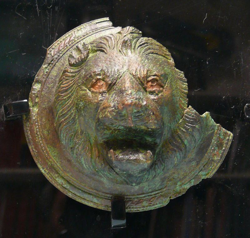 Roman Bronze Mask, Head of a Lion