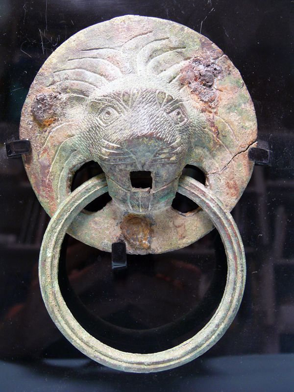 Roman Bronze Mask, Head of a Lion, Door Knocker