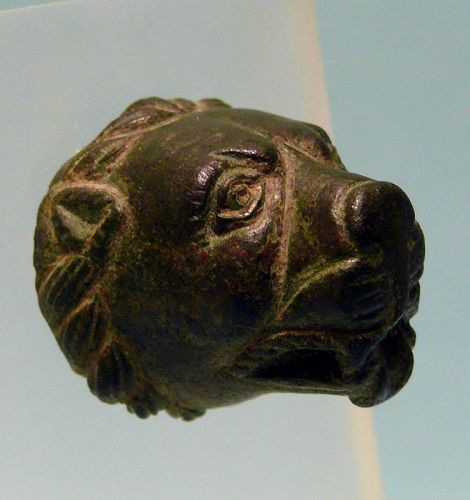 Roman Bronze Head of a Lion, Attachment, Protome