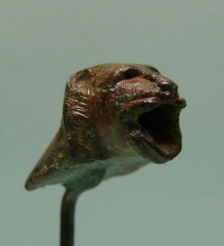Roman Bronze Head of a Lion, Attachment, Protome