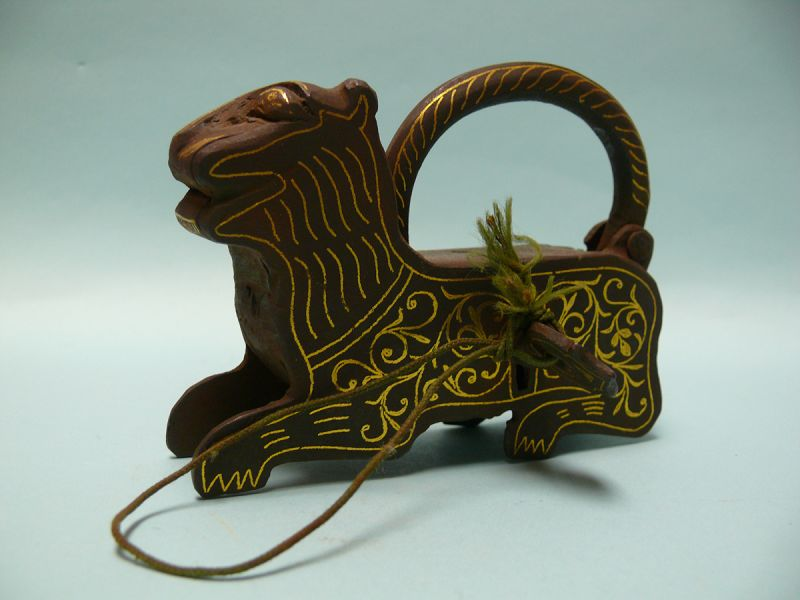 Antique Islamic Iron Lock in form of Lion