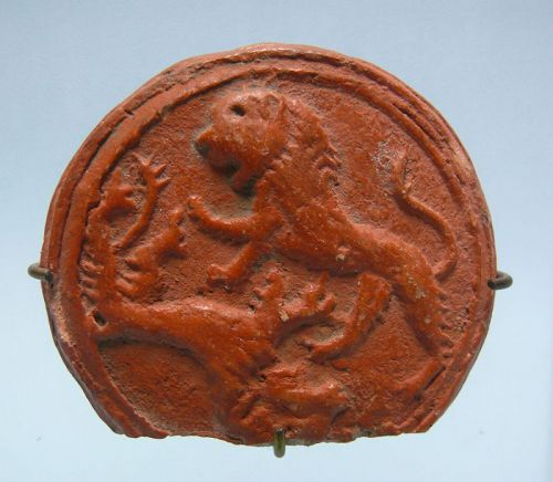 Roman, North African, Red Clay, Mold of Two Lions