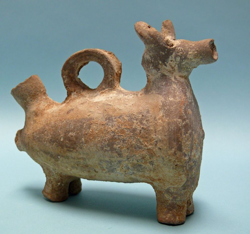 Byzantine Terracotta Figure of a Bull Juglet
