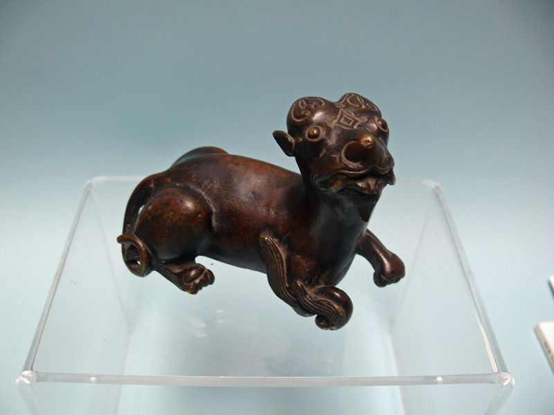 Ming Dynasty Bronze Figure of Recumbent Mythical Lion