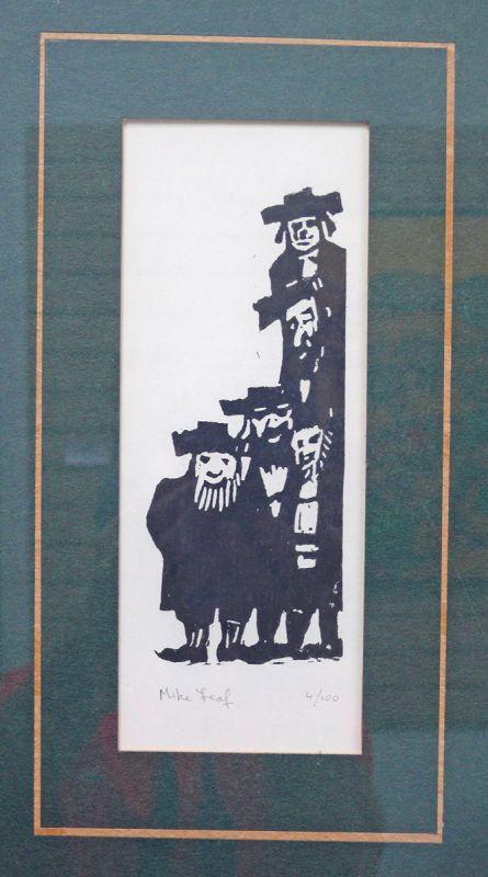 Mike Leaf, Lithograph, Five Rabbi