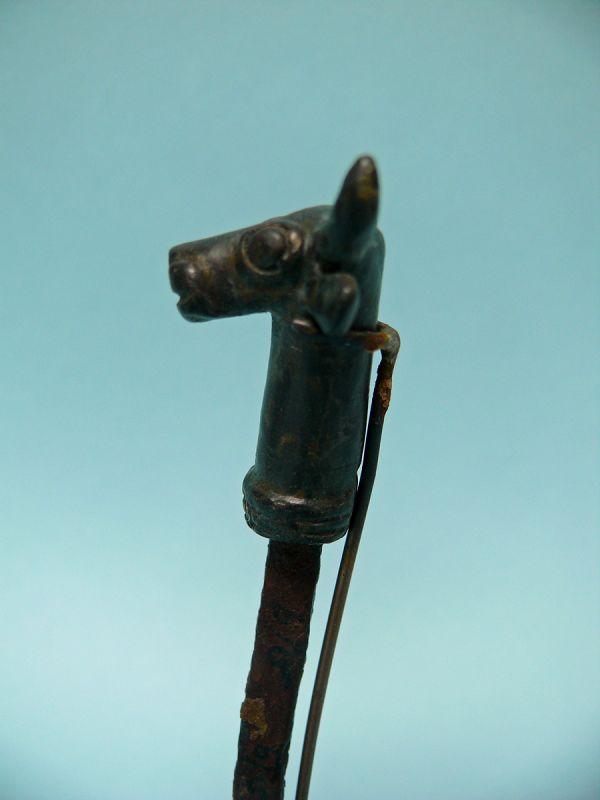 Luristan Bronze Bull head on iron rod,