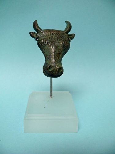 Roman Bronze Bull Head, flat applique