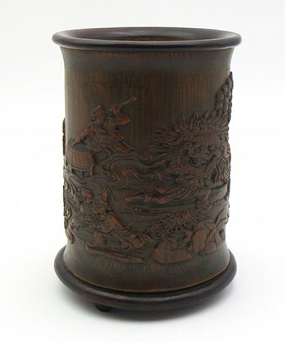 Brushpot Depicting a Celebration with Signature, 19th century