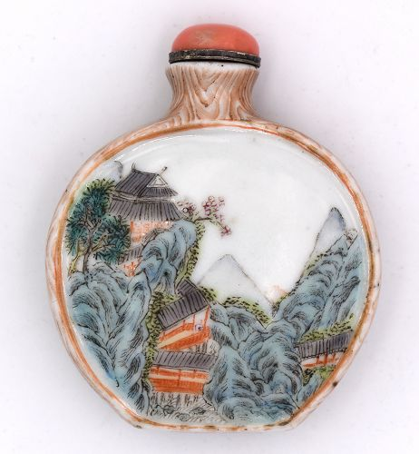 Snuff Bottle with Faux Bois Enamels; 18th-19th Century
