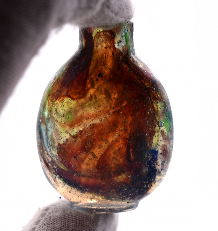 Multi-Colored Swirled and Speckled Glass Snuff Bottle, 18th cen.