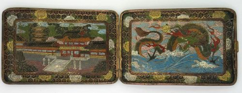 Lavishly Enameled Cigarette Case; Meji Period