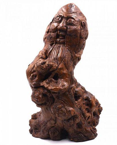 Burl Wood Sculpture of Shou Lao (Shouxing); 18th - early 20th century