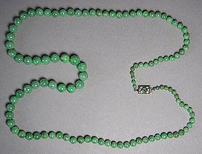Very Fine Jadeite Bead Necklace/Dianond,Emerald