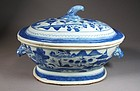 A Fine Chinese Export Blue and White Tureen with Cover