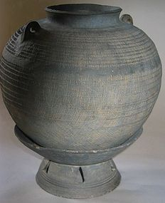 A Rare / Fine Early Kimhae Type Pottery Jar with Stand