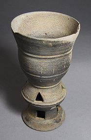A Very Rare Earthen-Ware Jingle-Bell Libation Cup