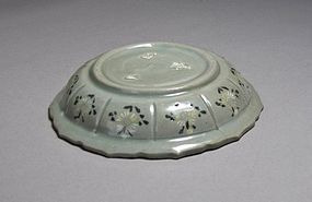 Rare/Fine Celadon Inlaid Foliate Decagonal Shallow Dish