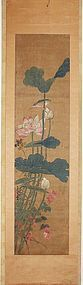 A Very Fine Lotus with Perching Bird Scroll Painting