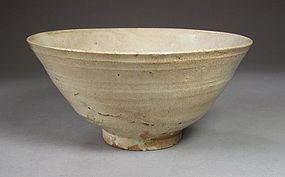 A Very Rare/Fine Crackled White Glazed Tea Bowl-15th C.